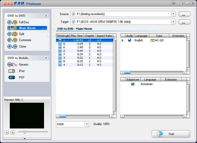 Program DVDFab Platinum 1