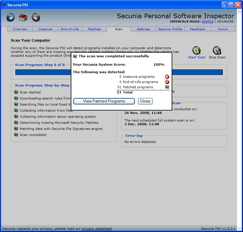 Program Secunia Personal Software Inspector 2