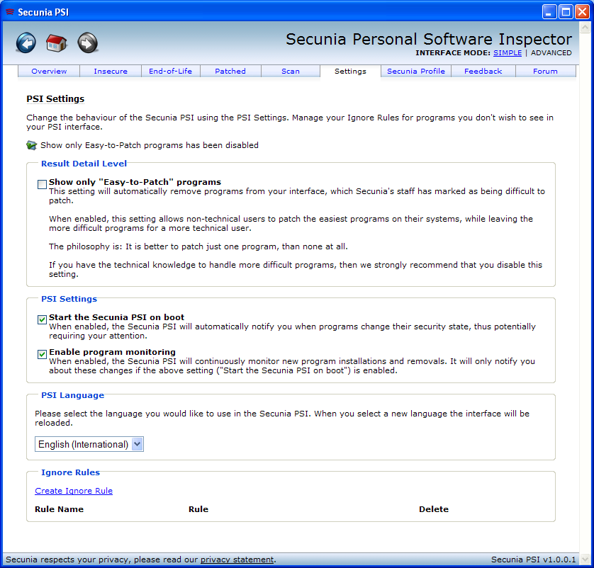 Program Secunia Personal Software Inspector 1