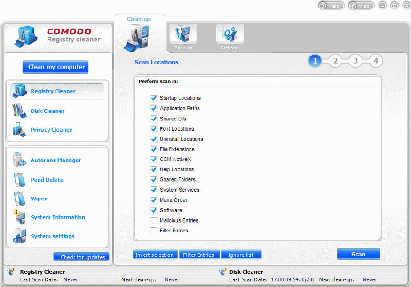 Program Comodo System Cleaner 3
