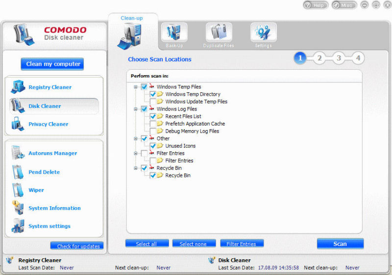 Program Comodo System Cleaner 1