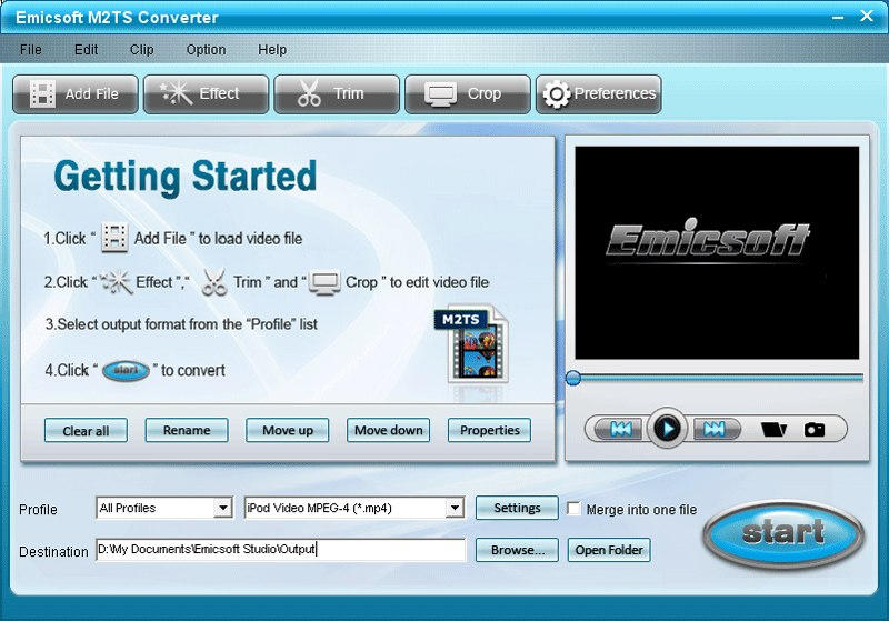 Program Emicsoft M2TS Converter 1